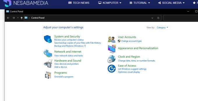 Windows 10 Control Panel
