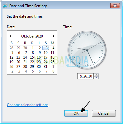 Date and Time Settings OK