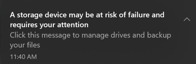 Tampilan Notifikasi Kondisi SSD di Windows 10