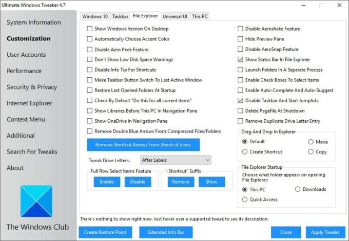 Download Ultimate Windows Tweaker