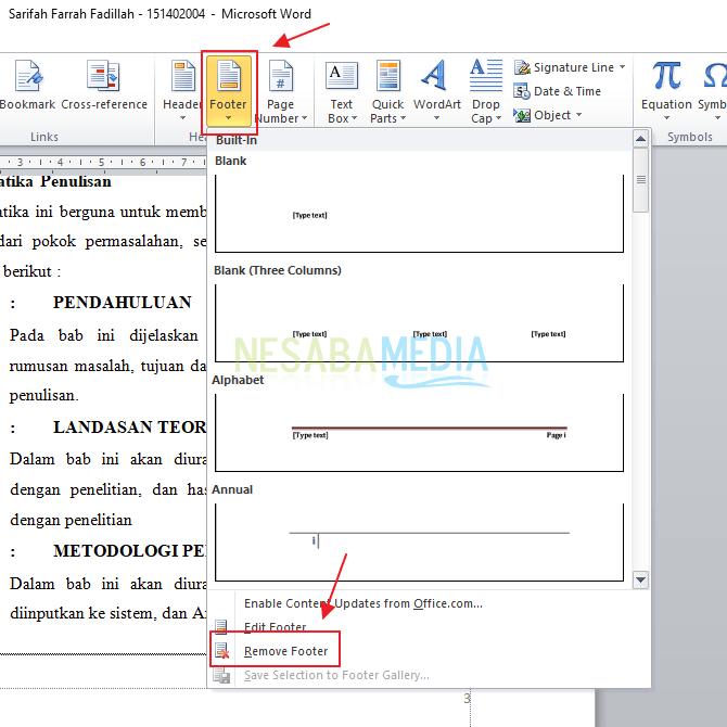 cara menghapus header dan footer di microsoft word