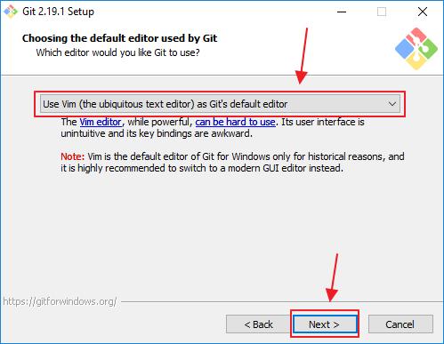 Git's default editor