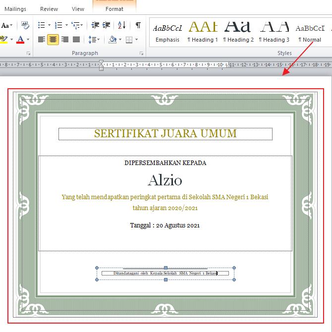 sertifikat di word