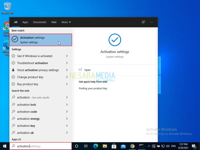 Aktivasi Windows 10 Step 1