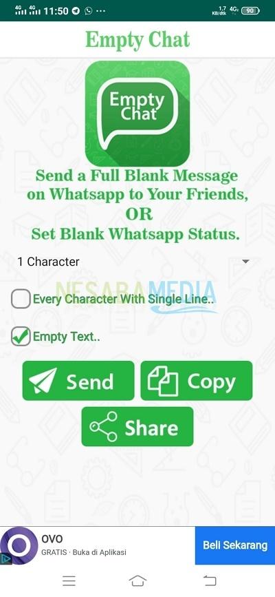 cara mengirim pesan kosong di whatsapp