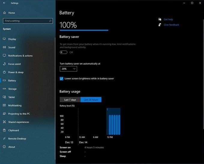 Statistik Baterai Laptop di Windows 10