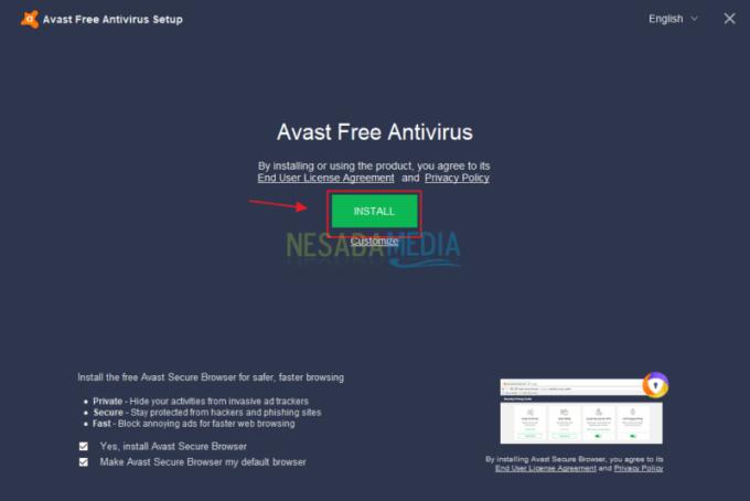 Cara Install Avast Antivirus di PC