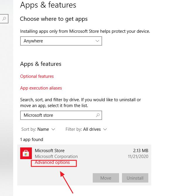 klik advanced options