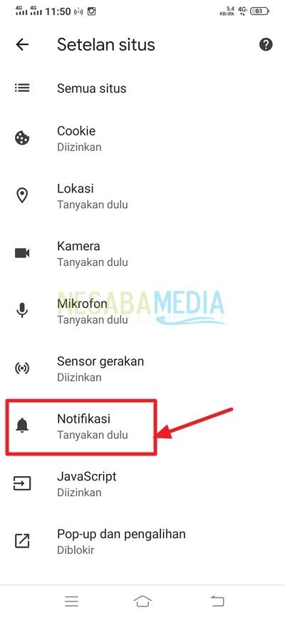 klik notifikasi
