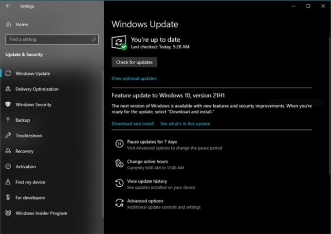 Tampilan Dialog Pembaruan Windows 10 21H1