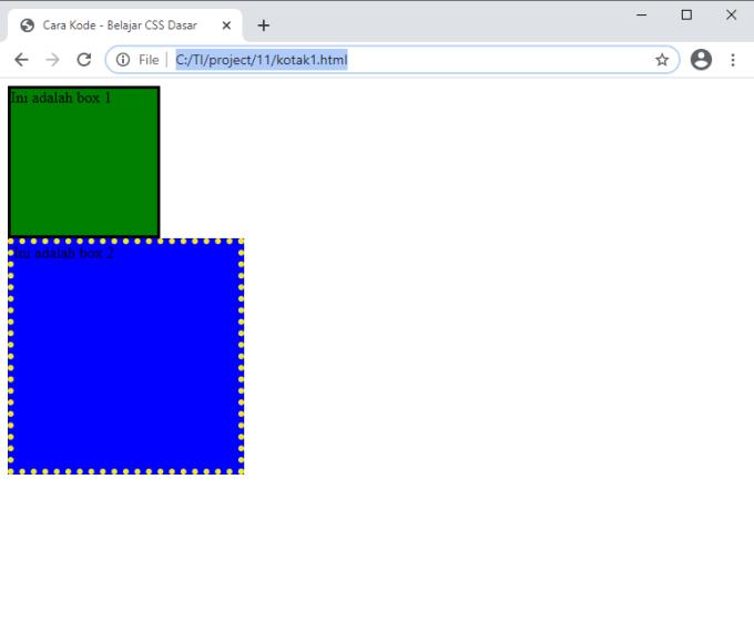 membuat kotak dengan borderdi HTML
