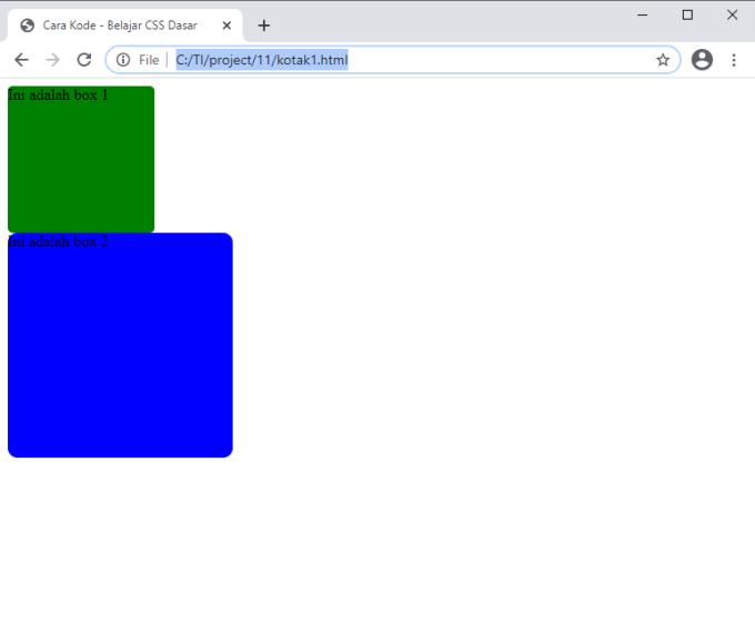 membuat kotak dengan border radius di HTML