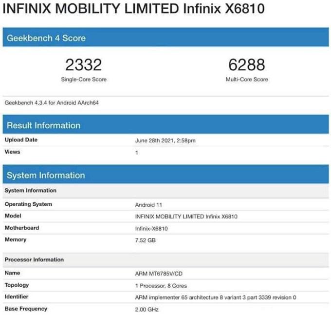 Benchmark Infinix Zero X
