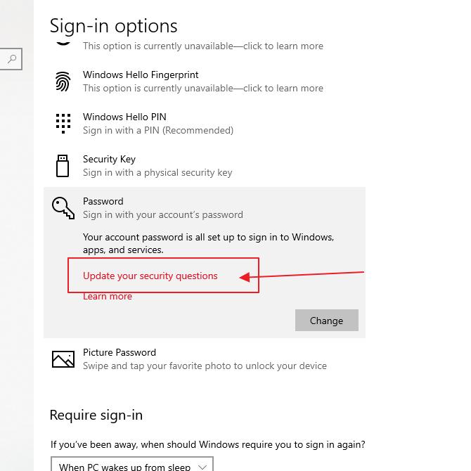 klik update security question