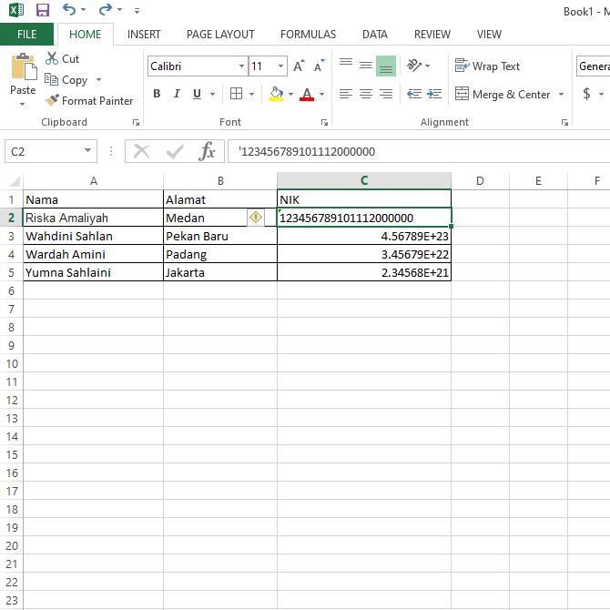 Cara Input Angka Lebih dari 15 Digit di Microsoft Excel
