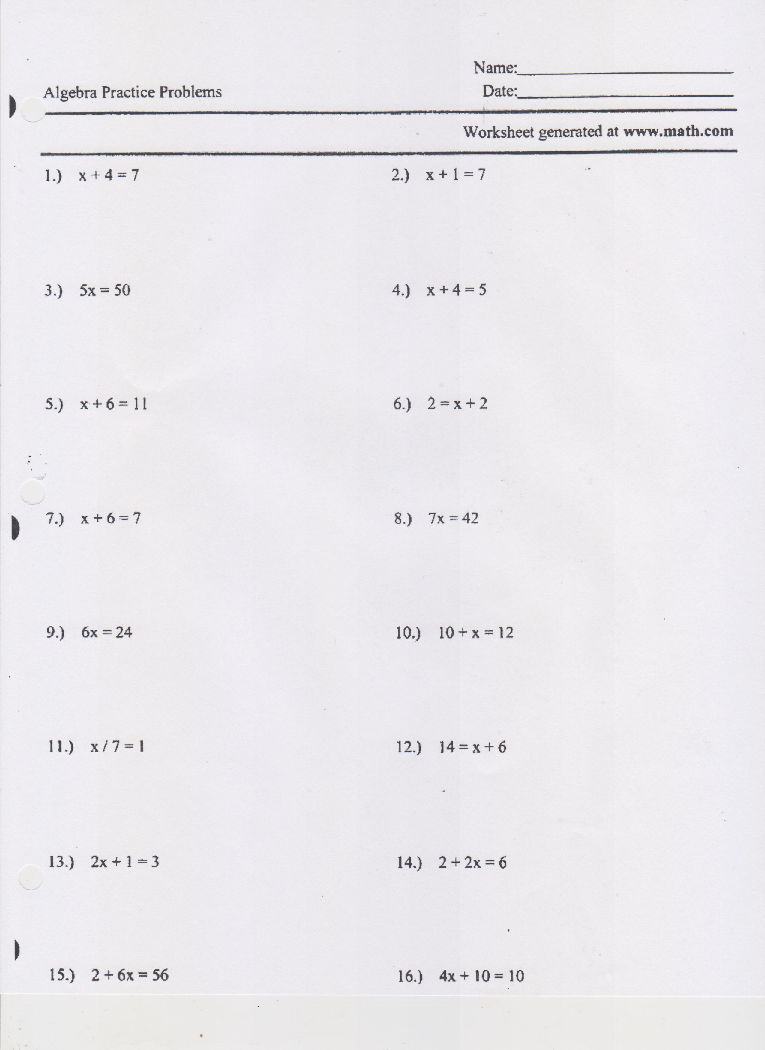 Writing And Solving One Step Equations Worksheet