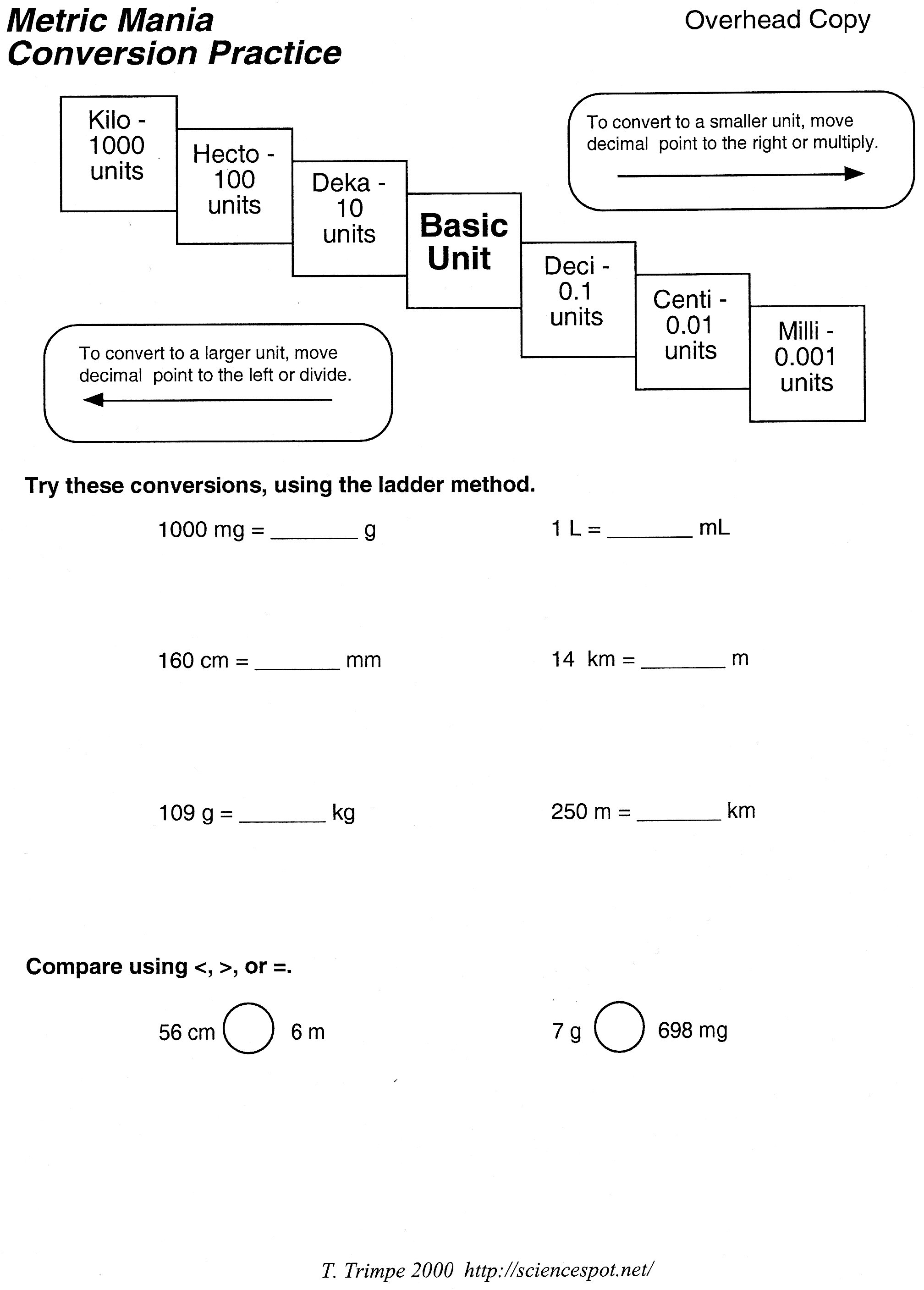 Printables Metric Conversion Word Problems Worksheet