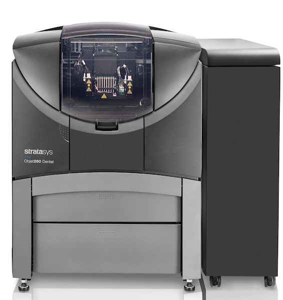 This Stratasys Objet260 3D dental printer can print three different materials.
