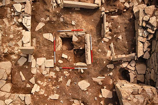 The central hearth of Structure Ten, under quadrant excavation as viewed by Hugo's PoleCam.