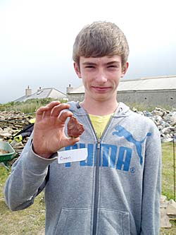 Owen, one of the Excavation Club, with his large flint flake.
