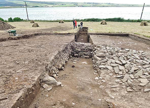 Newly extended Trench T, with the Stenness loch in the background,
