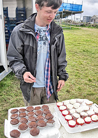 Finds assistant Michael cheer up everyone's day with a fine selection of homebakes.