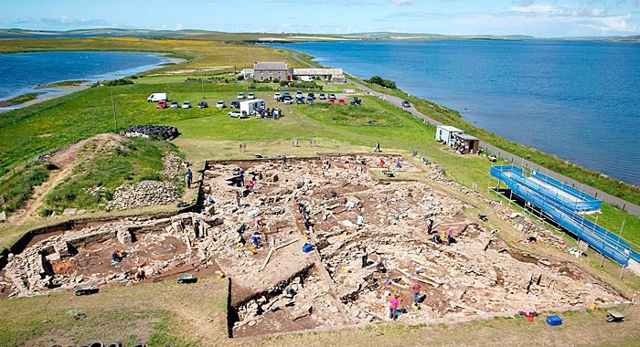 An overview of the main trench, looking north-west towards the Ring of Brodgar.