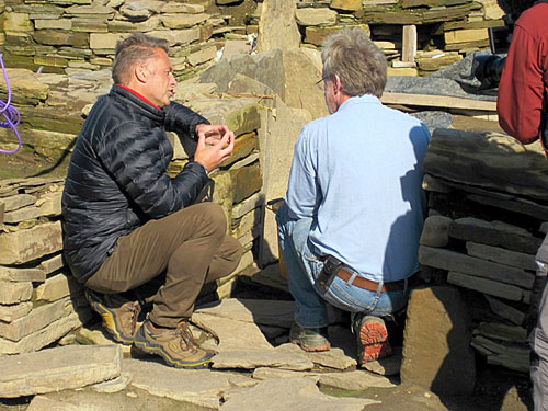 Chris Packham in conversation with Nick about the art in the south entrance to Structure One.
