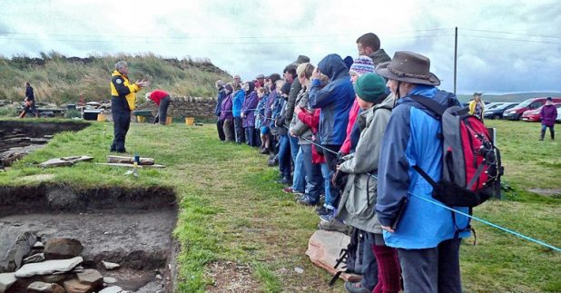 One of the afternoon tours at the Ness of Brodgar Dig Site