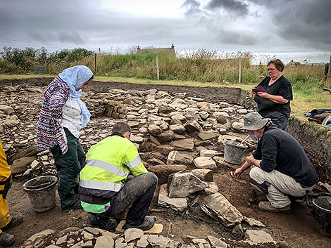 Trench J supervisor Paul checks on progress made tracking the path of the 'Great Wall of Brodgar'