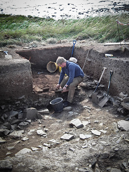 Emanuelle continues the hunt for the elusive wall in the extension to Trench Y, by the Stenness Loch.