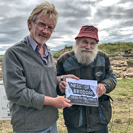 John, from the Isle of Man, who has visited the site on a regular basis over a number of years, was presented with a copy of Ness of Brodgar: Open to the Public by Nick today.
