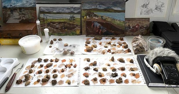 Karen Wallis: Pigment samples in progress.
