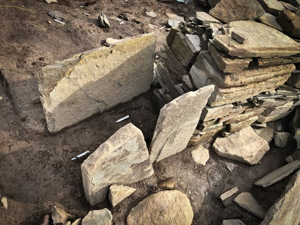 A scrappy, later extension to one of the piers in Structure Eight - the source of the decorated stone recovered over the past few weeks.