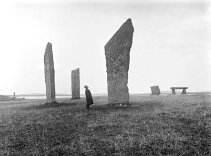 The Standing Stones after the operation to raise the toppled megalith in 1906.
