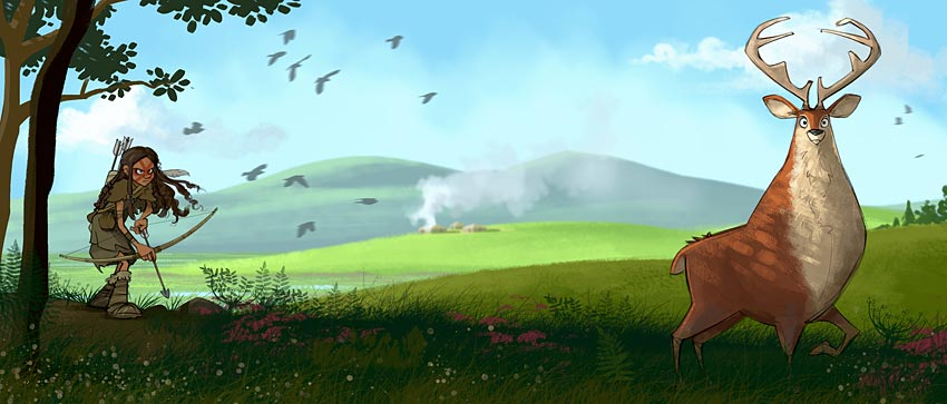 Deer hunting with the Orphir hills in the background. (Alex Leonard © ALT_Animation)