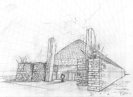 Early pre-production work on a building based on Structure Ten at the Ness. (Alex Leonard © ALT_Animation)