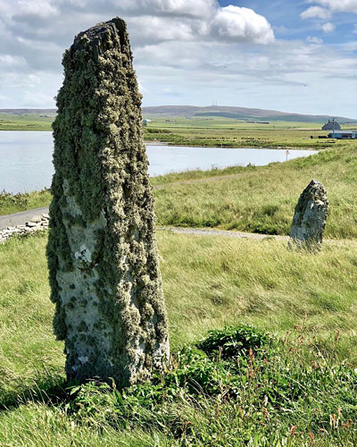 The pair of standing stones outside Ness dig HQ, adjacent to the Brodgar Road. (Sigurd Towrie)