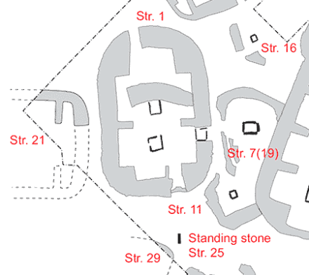 Section of the Trench P schematic showing the relationship between Structures One, Seven, Eleven, Nineteen and Twenty-One. (ORCA)