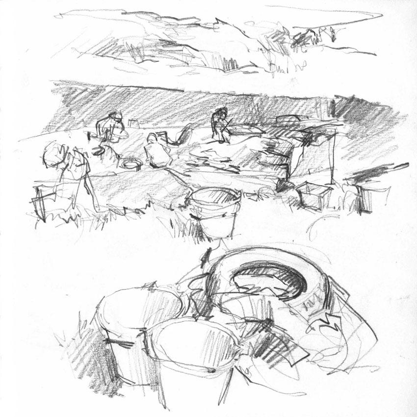 July 28, 2016: Buckets and tyres beside Trench T. (Karen Wallis)