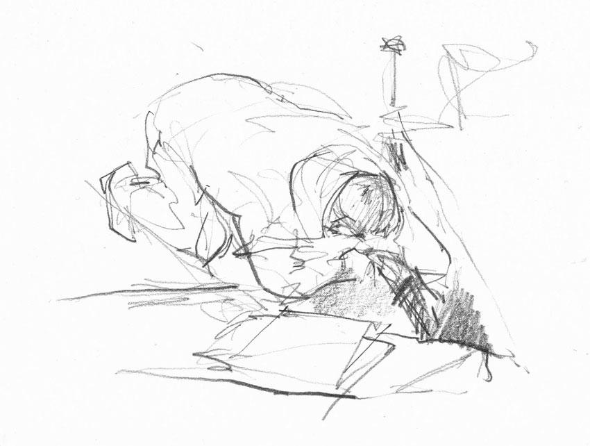 July 24, 2017: Taking measurements for drawing. (Karen Wallis)