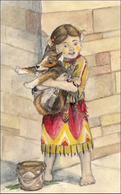 Neolithic girl and dog. (Cecily Webster)