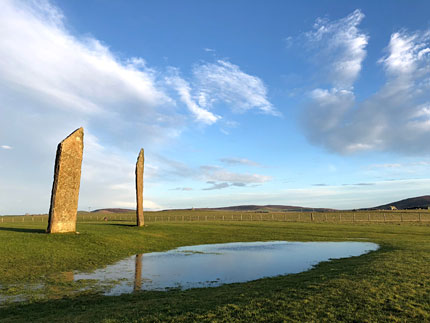 A common sight - water filling the remains of the ditch around the Stones of Stenness after wet weather. (Sigurd Towrie)