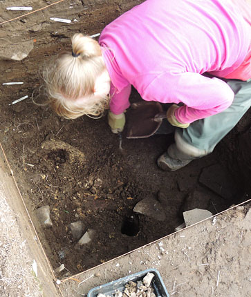 2014: Lauren carefully reveals the large horn core in the sondage at the top of Trench T. (ORCA)