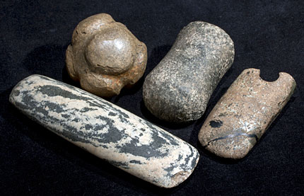 A small selection of polished stone artefacts found at the Ness of Brodgar. (Hugo Anderson-Whymark)