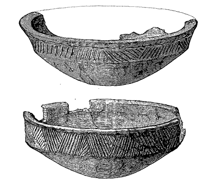 Two of the Unstan ware vessels recovered during the 1884 excavation. (Clouston. 1885)