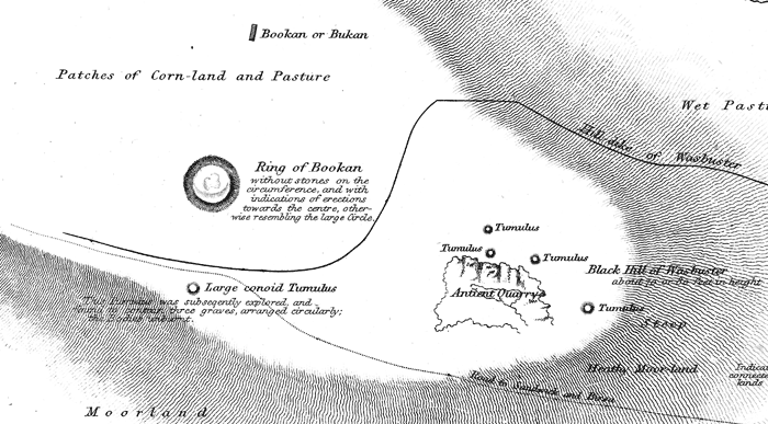 A section of Captain Thomas' 1852 map showing the Ring of Bookan and surrounding monuments.