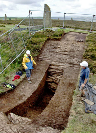 Work under way in one of the two 1973 ditch trenches re-opened in 2008. (Sigurd Towrie)