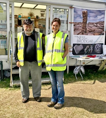 Fraser and Sue meeting visitors to the site during the 2018 dig season. (Jo Bourne)