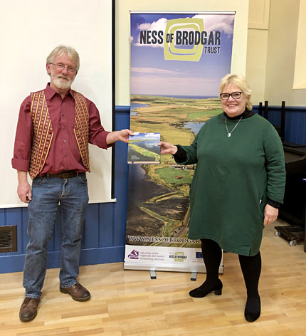 Two of the book's editor, Nick Card and Anne Mitchell, at the launch event in Kirkwall.